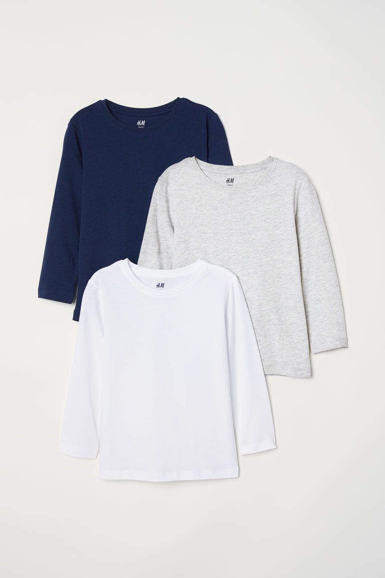 Baby Boys 2 Pack Long Sleeved Tops in Grey//Blue or Green//Blue