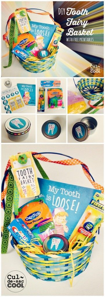 Diy tooth fairy basket with free printables from the childrens tooth fairy basket collage with the childrens book my tooth is loose by becca wilkinson negle Images