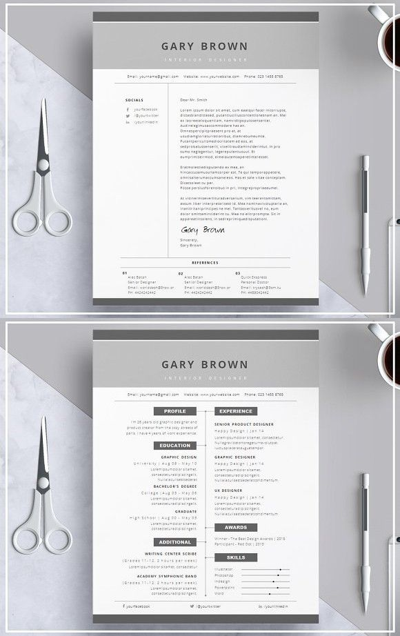 resume template   cover letter   grey