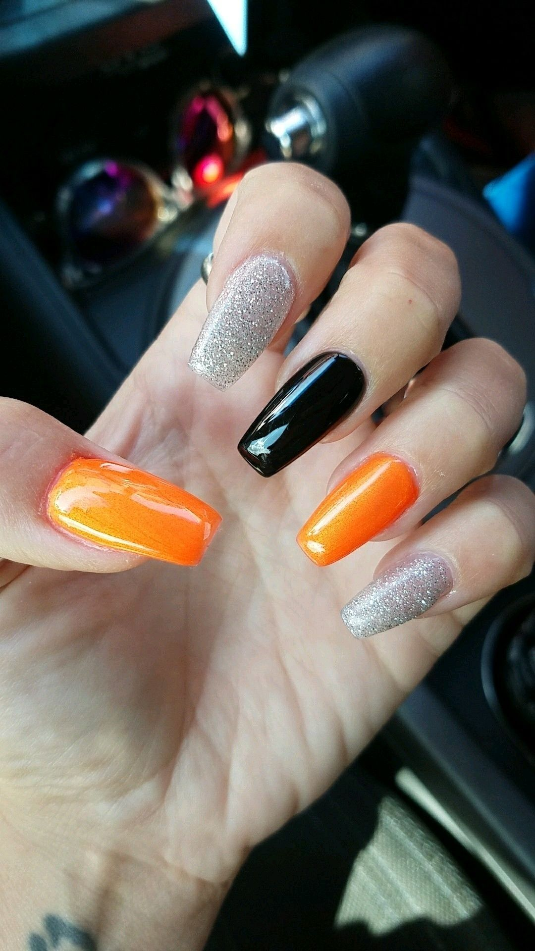 Orange And Black Nail Designs : orange, black, designs, Halloween, Nails, Design, #coffinnails, #halloween, #longnails, #orange, Black, #silver, Nails,, Acrylic