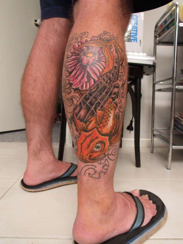 Colored Aqua Tattoo On Right Leg Aqua Tattoo Designs Leg Tattoos Tattoos Tattoo Designs