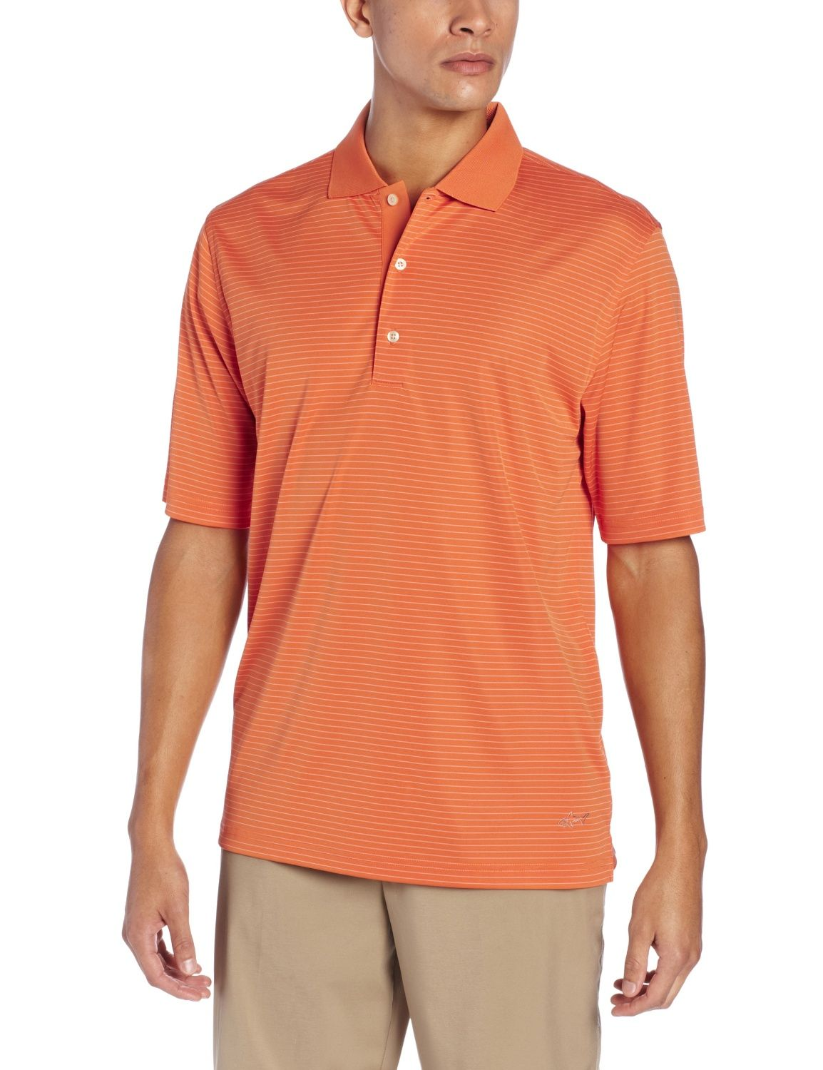 dddde94b2c Made from super fine microfiber yarn this mens fine line stripe golf polo  shirt by Greg Norman offers moisture wicking technology to keep you dry and  UPF ...