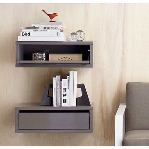 slice grey wall mounted storage shelf in bedroom furniture | CB2