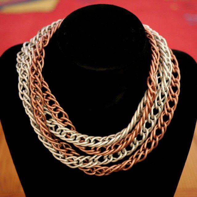 "2 Vintage MONET Silver Copper Satin Matte Finish Chunky Chain Link Necklace 36"" #Monet #Chain"