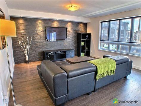 univers deco salon mur en pierre   Salons, Living rooms and Stone ...