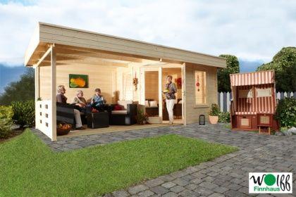 Great Gartenhaus Flachdach «280x280cm Mit Terrassenanbau» Fünf Eck Holz Haus