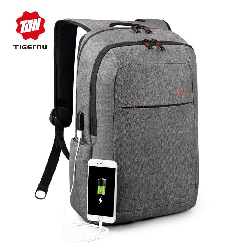 e9c4a569189ef 2017 Tigernu Brand External USB Charge Backpack Male Mochila Escolar Laptop  Backpack men women School Bags Backpack for teens -in Backpacks from  Luggage ...