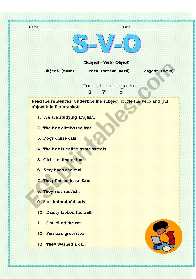 Simple Worksheet To Teach Subject Verb And Object Give Lot S Of Examples While Explaining And Subject And Verb Grammar And Vocabulary English Lessons For Kids [ 1169 x 821 Pixel ]