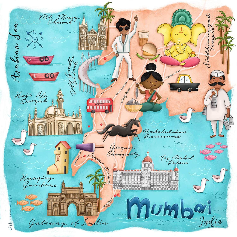 Mumbai, India Map Print in 2020 India map, India art