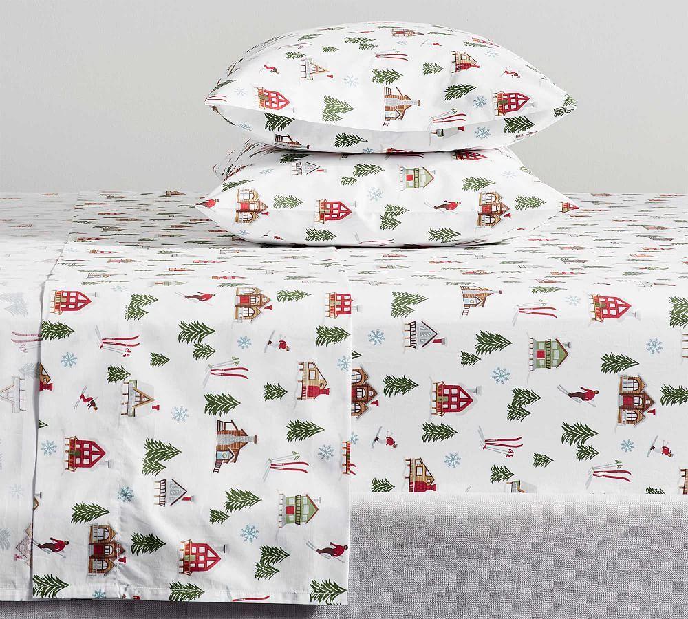 Ski Lodge Print Organic Percale Pillowcases Percale Sheets