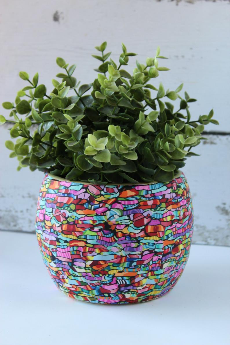 Big Indoor Pot For Plant 4 7h 5 2w Flower Pots Mosaic Flower