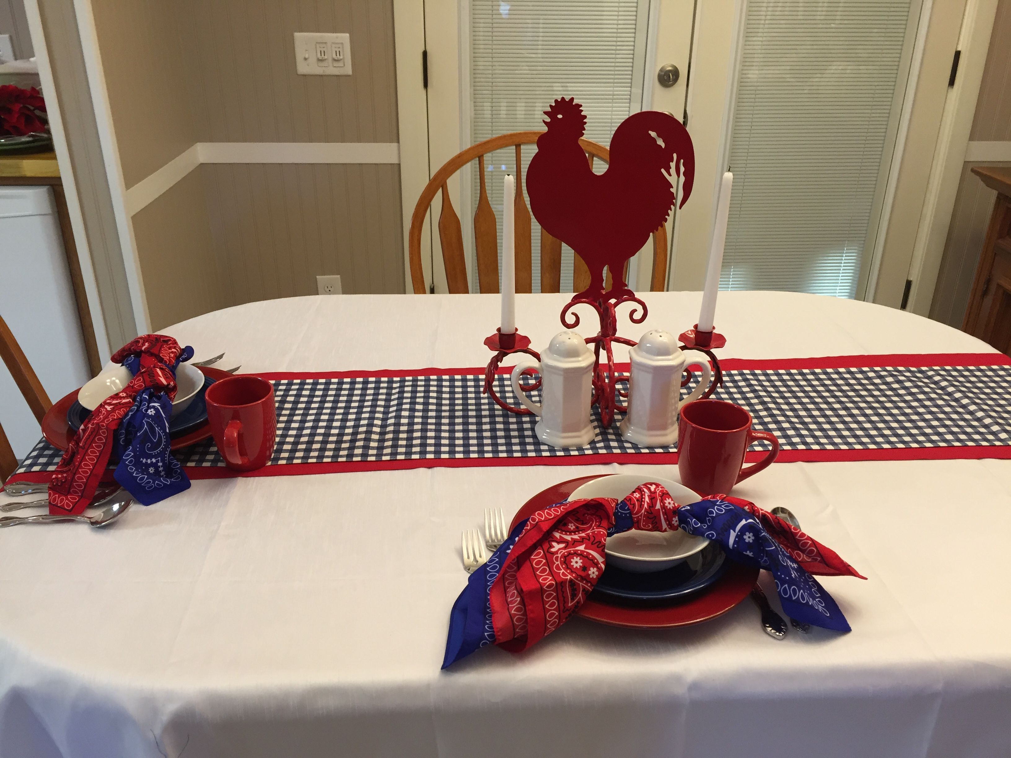 Rustic And Refined Table Scape Using White Table Cloth, My Red Table Runner  I Made For Christmas, And A Dark Blue Gingham Check Fabric I Found To Make  This ...