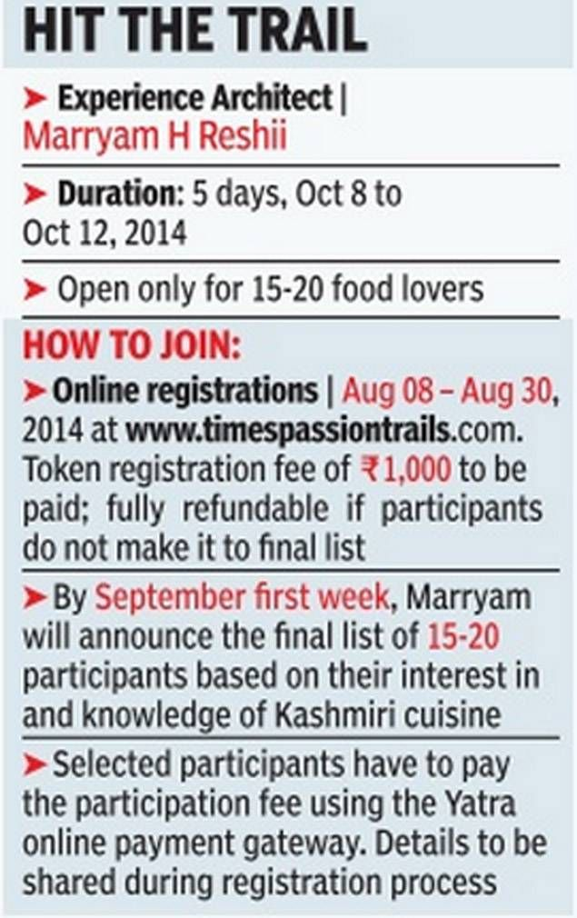 @timesofindia's #PassionTrails ~ #Travel to #Kashmir valley (Oct 8-12) enjoy a Feast fit for a King