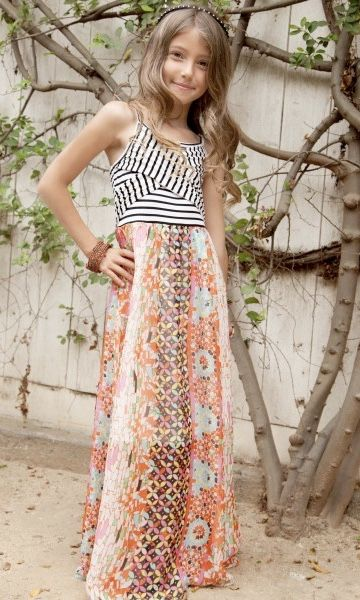2b533a0ae8 Gorgeous mixed media maxi dress with crisscross micro stripe bodice by TWEEN  brand Truly Me. This amazing dress has a maxi print skirt of floral and  aztec.