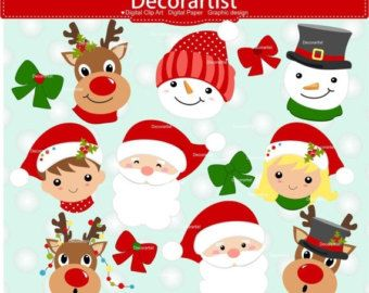 On Sale Christmas Clipart Santa Claus Faces Clipart Christmas Faces Clipart Snowman Faces Christmas Clipart Christmas Craft Projects Christmas Crafts To Make