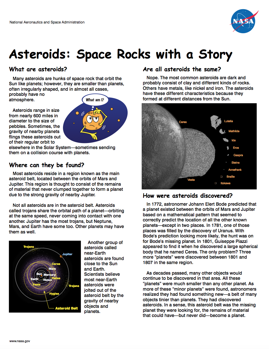 Thumbnail image of asteroids brochure front page ...