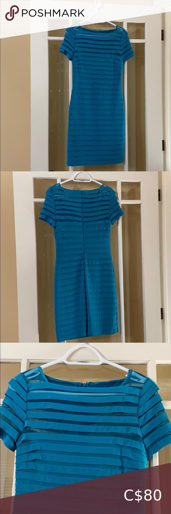 Adrianna Papell Womens A-Line Striped Mesh Dress 4   eBay