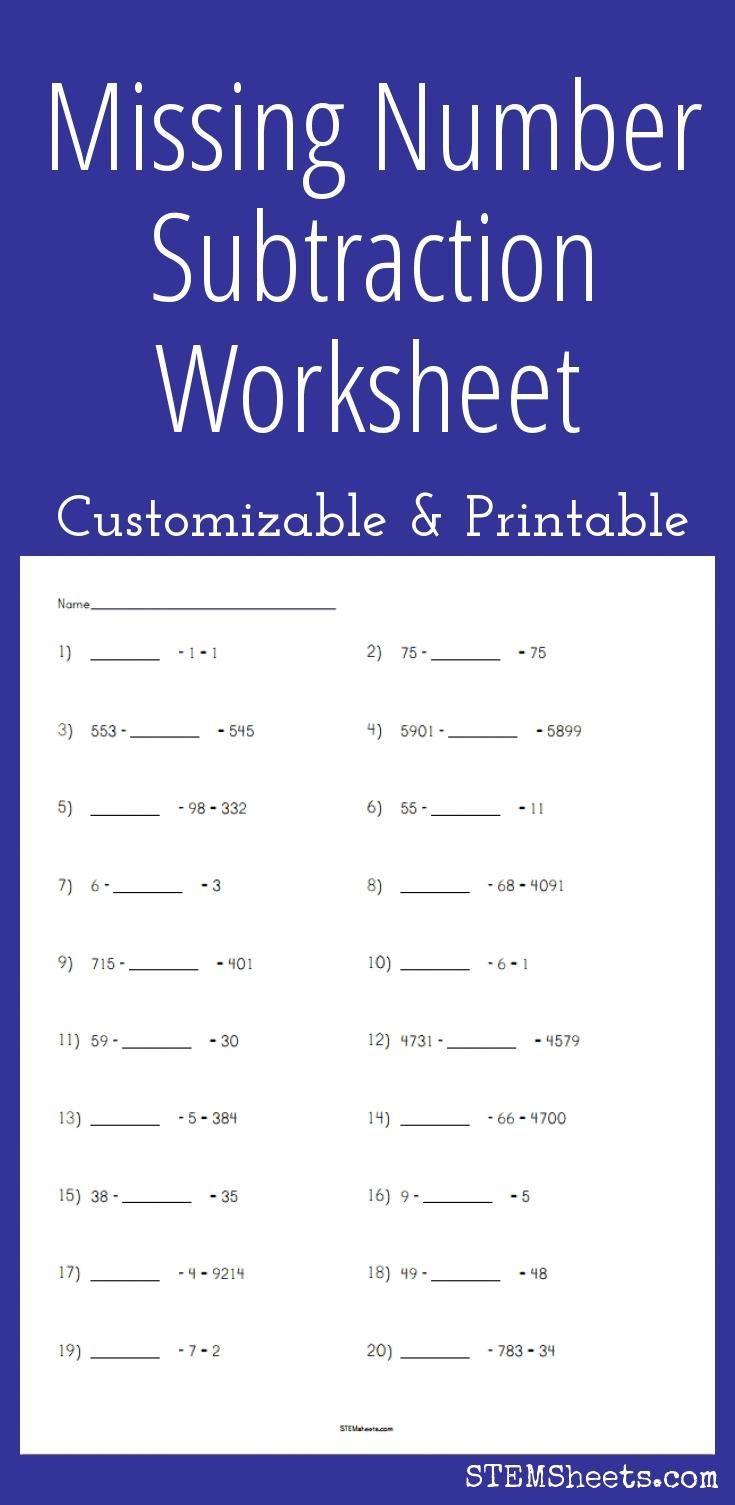 Subtraction Worksheet Missing Number Subtraction Worksheets Common Multiples Least Common Multiple
