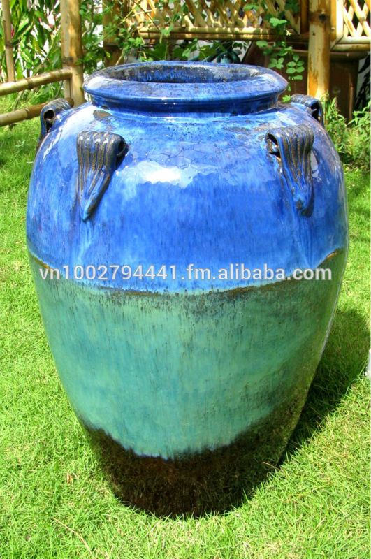 Outdoor Pottery Pots For Plants | Tall Outdoor Glazed Jars   Tall Temple  Jar   Green