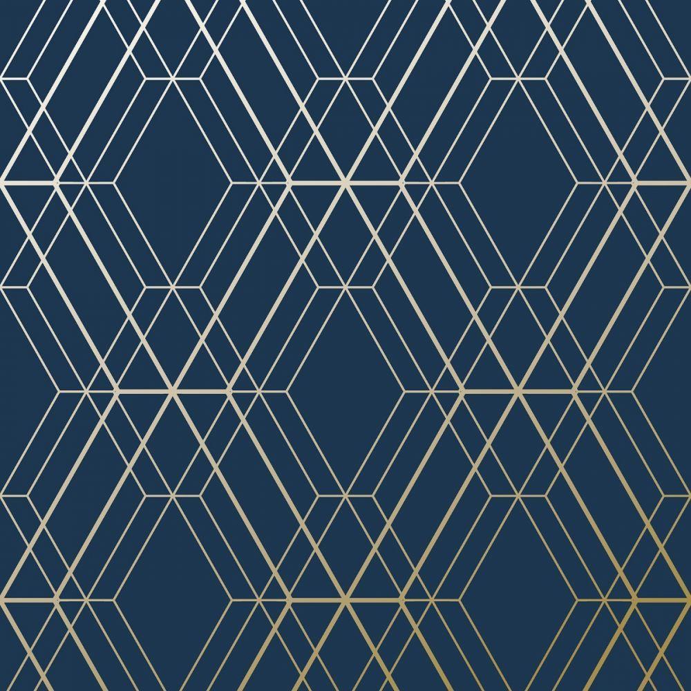Metro Diamond Geometric Wallpaper Navy Blue and Gold