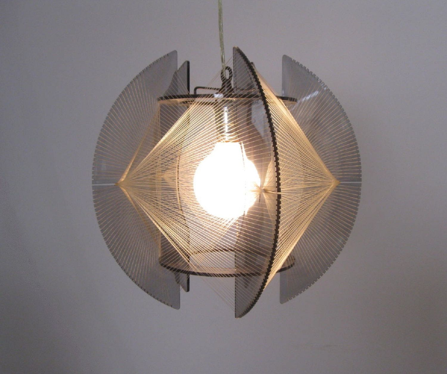 Nautical Shade For Vintage String Lights: MOD 1960s Lucite And String Art PENDANT LAMP