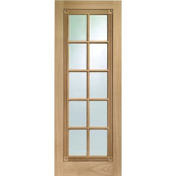 Image Of Five Whitechapel Oak Fluted Inlay Doors With 10 Panes Of Bevelled Clear Safety Glass Oak Doors Safety Glass Doors
