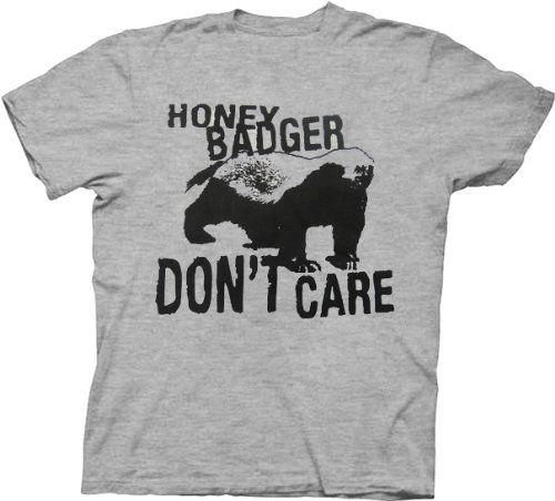 Honey Badger I Do Not Care Heather Grey Adult T-Shirt