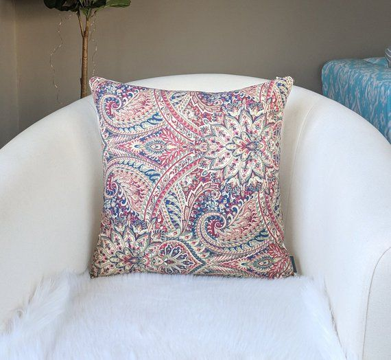 Paisley Red Blue Fl Pillow Cover
