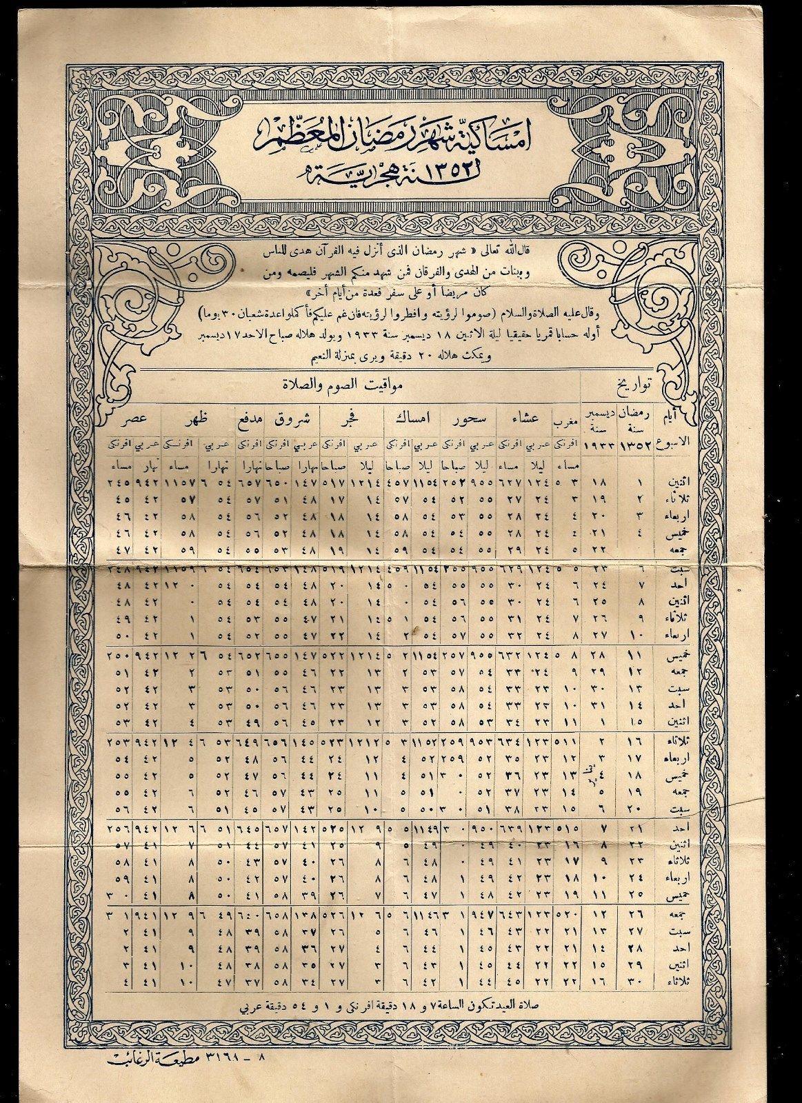 امساكية شهر رمضان عام ١٩٣٣م Old Egypt History Pictures Egypt