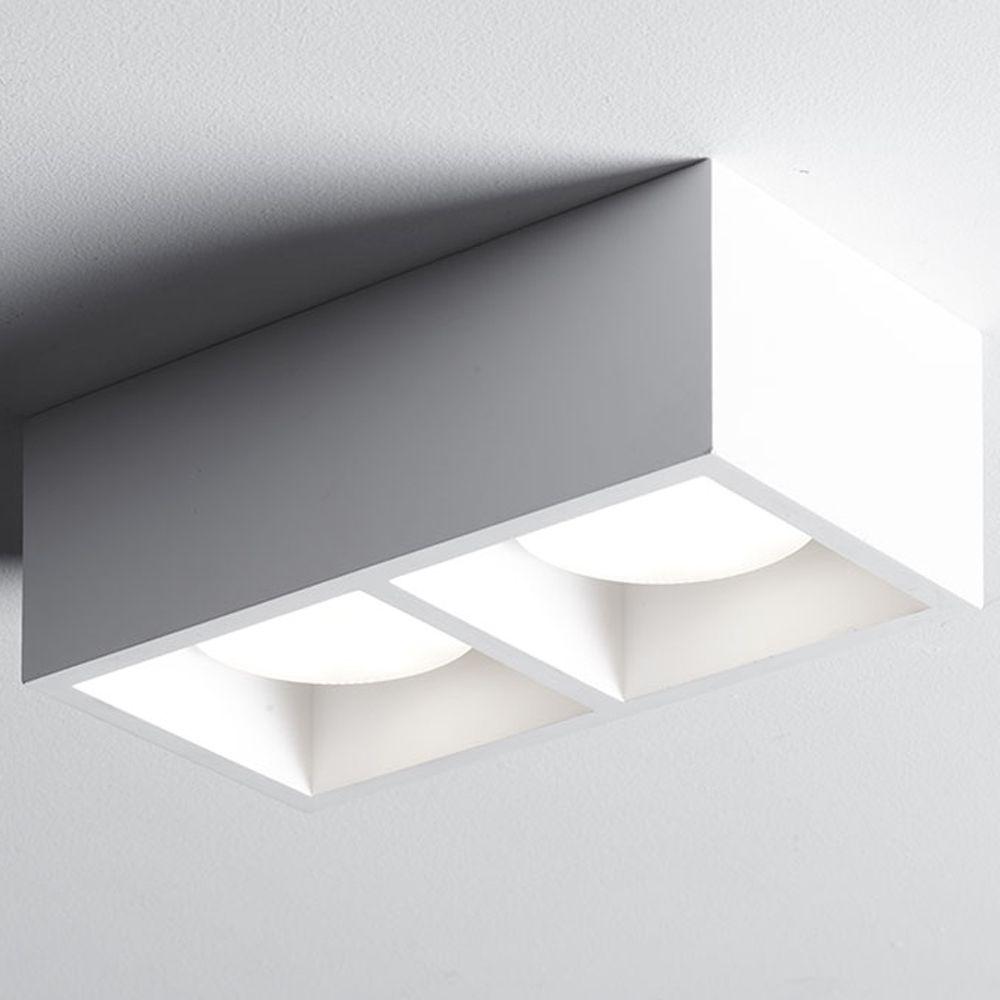 Matt Weisse Deckenleuchte Aus Gips Mit Zwei Gx53 Fassungen Deckenleuchten Design Leuchten Leuchten