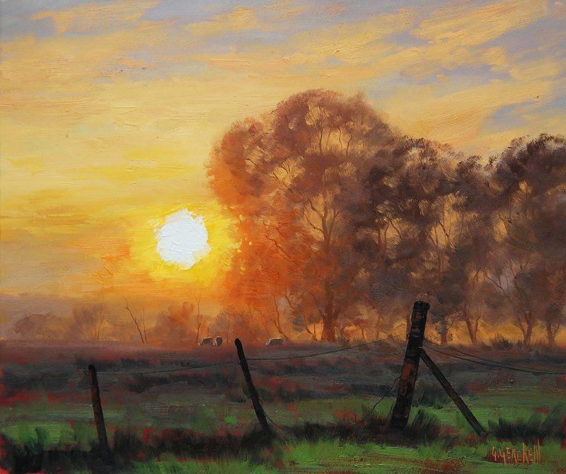 Multi Award Winning Listed Artist Graham Gercken My Original Oil Paintings Are Available From My Website O Sunrise Painting Sunrise Art Painting Farm Paintings