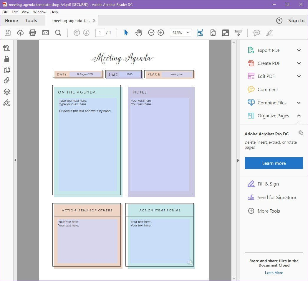 printable meeting agenda template planner pages pinterest
