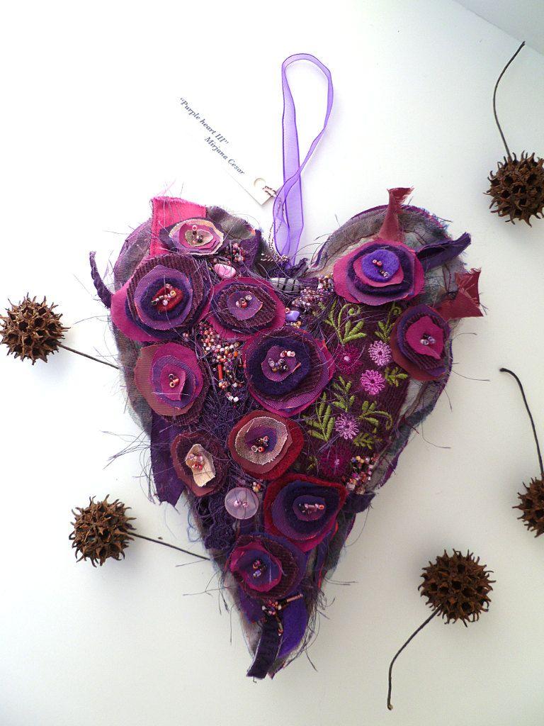 Purple heart V, large fiber art ornament, fiber collage