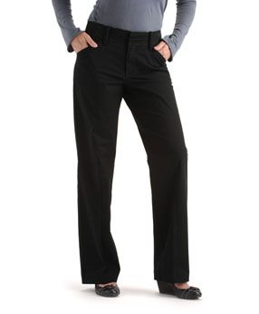 The rise is just below the waist. It has a nice relaxed fit and a tummy panel. It has a nice waist band. I do wish it was boot cut though as it looks better on a petite, full figured woman. The dark color also helps create a slim look.