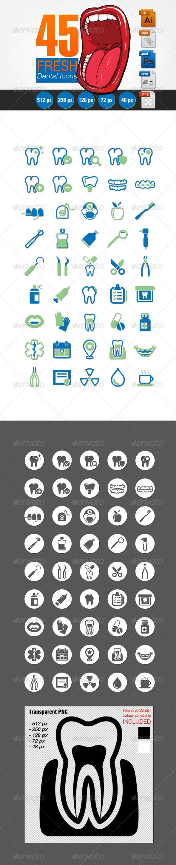 Fresh Dental Icons Set Buy and Download http