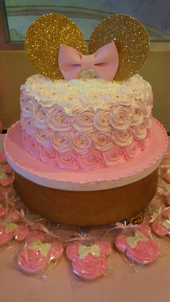 Mira! Muchas Ideas Decoración Fiesta de Minnie en Dorado y rosado
