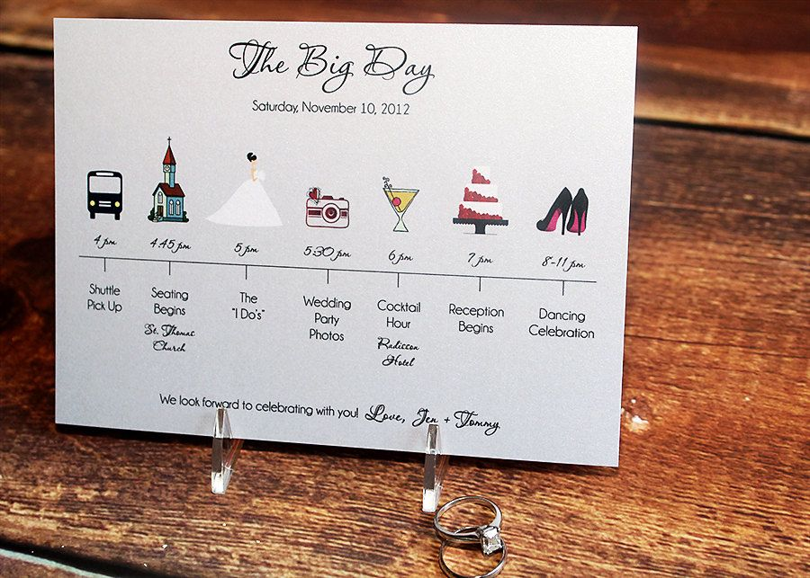 How To Create The Perfect Reception Timeline: Wedding Timeline Card To Include In Welcome Bag For Out Of