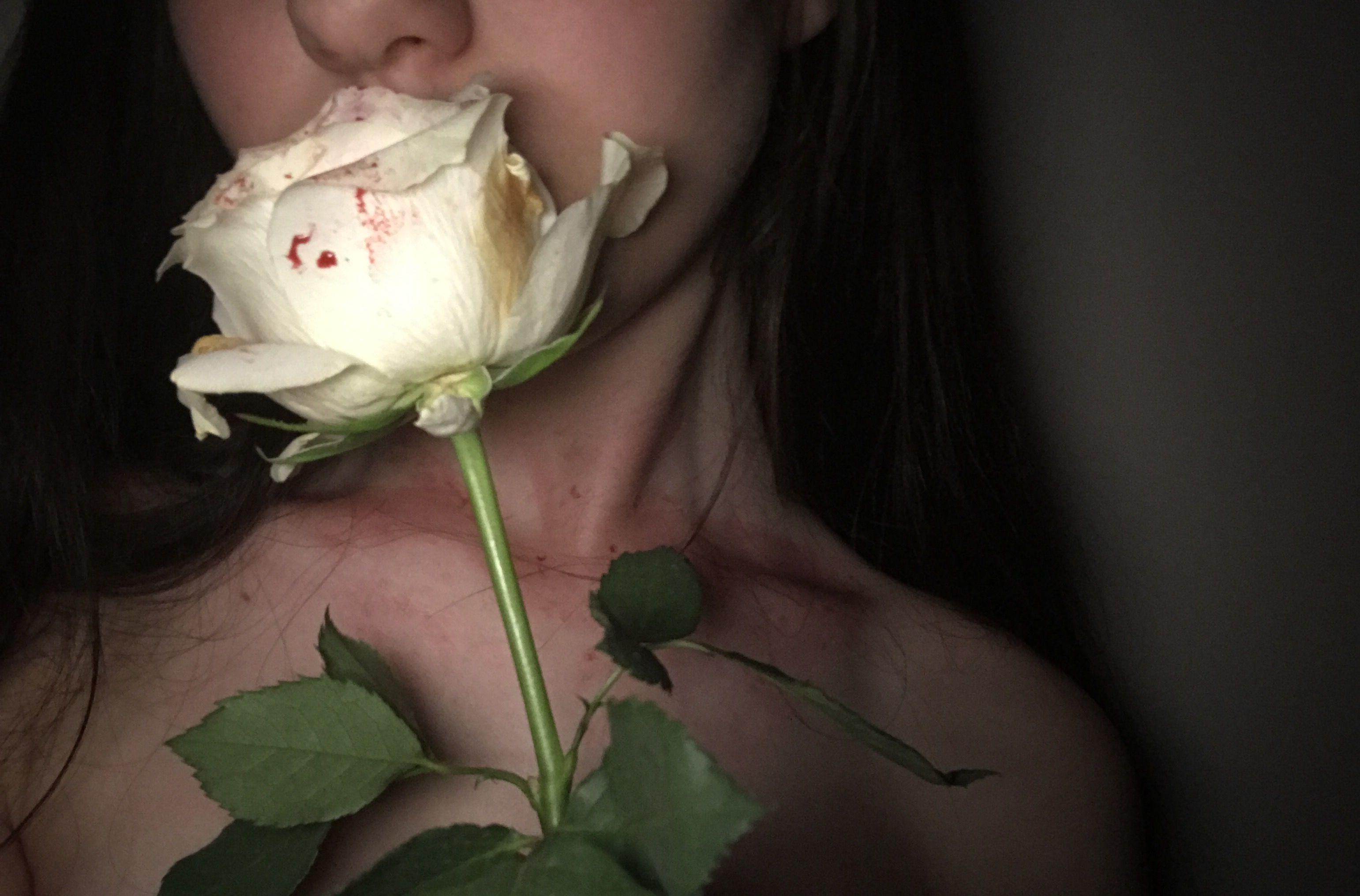 Whiterose Rose Blood Alone Sad Dark Tumblr Aesthetic Girl