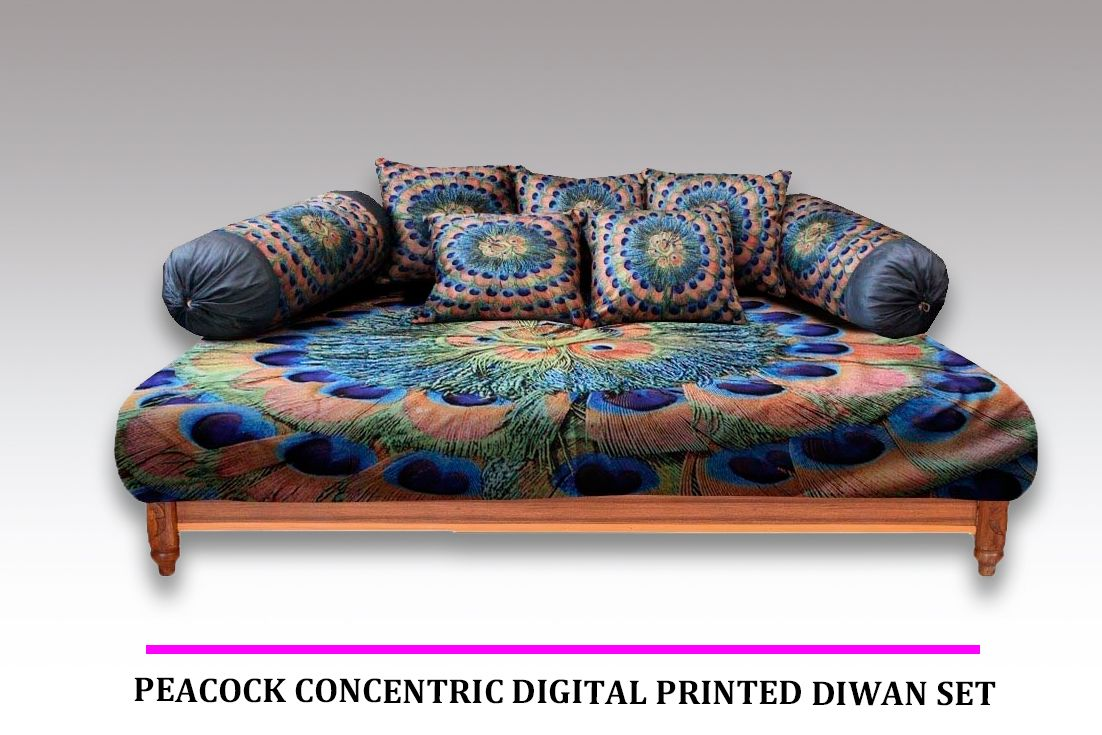 Magnificent Buy Peacock Concentric Digital Printed Diwan Set Set Of 8 Lamtechconsult Wood Chair Design Ideas Lamtechconsultcom