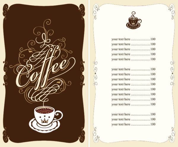 set of cafe and restaurant menu cover template vector 01 カフェ