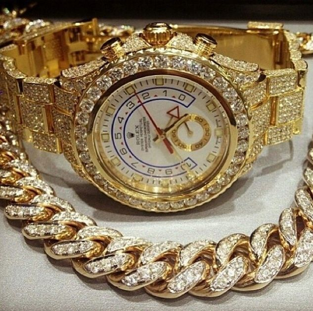 Mens Fully Iced Out Lab Diamond Rolex Yatchmaster 2 Ii Gold Lab