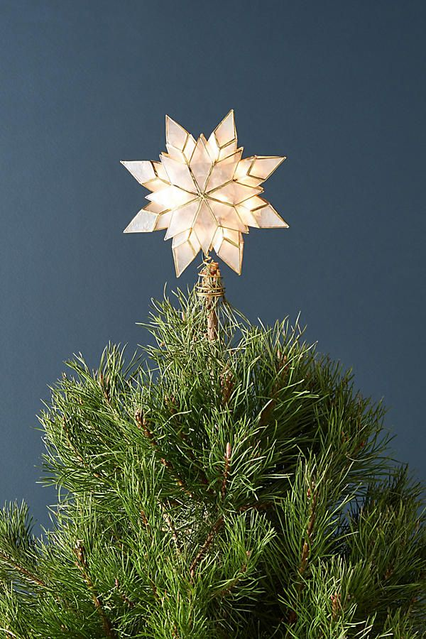 Capiz Star Light-Up Tree Topper Tree toppers, Holidays and