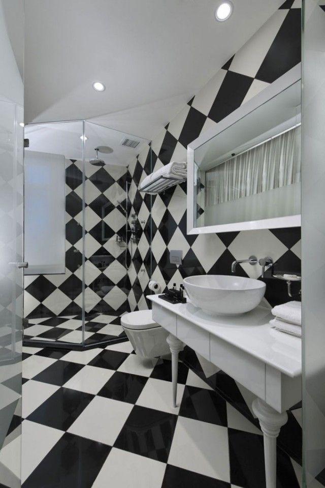 Keramik-Fliesen für Badezimmer-Dusche-Bereich schwarz-weiß ...