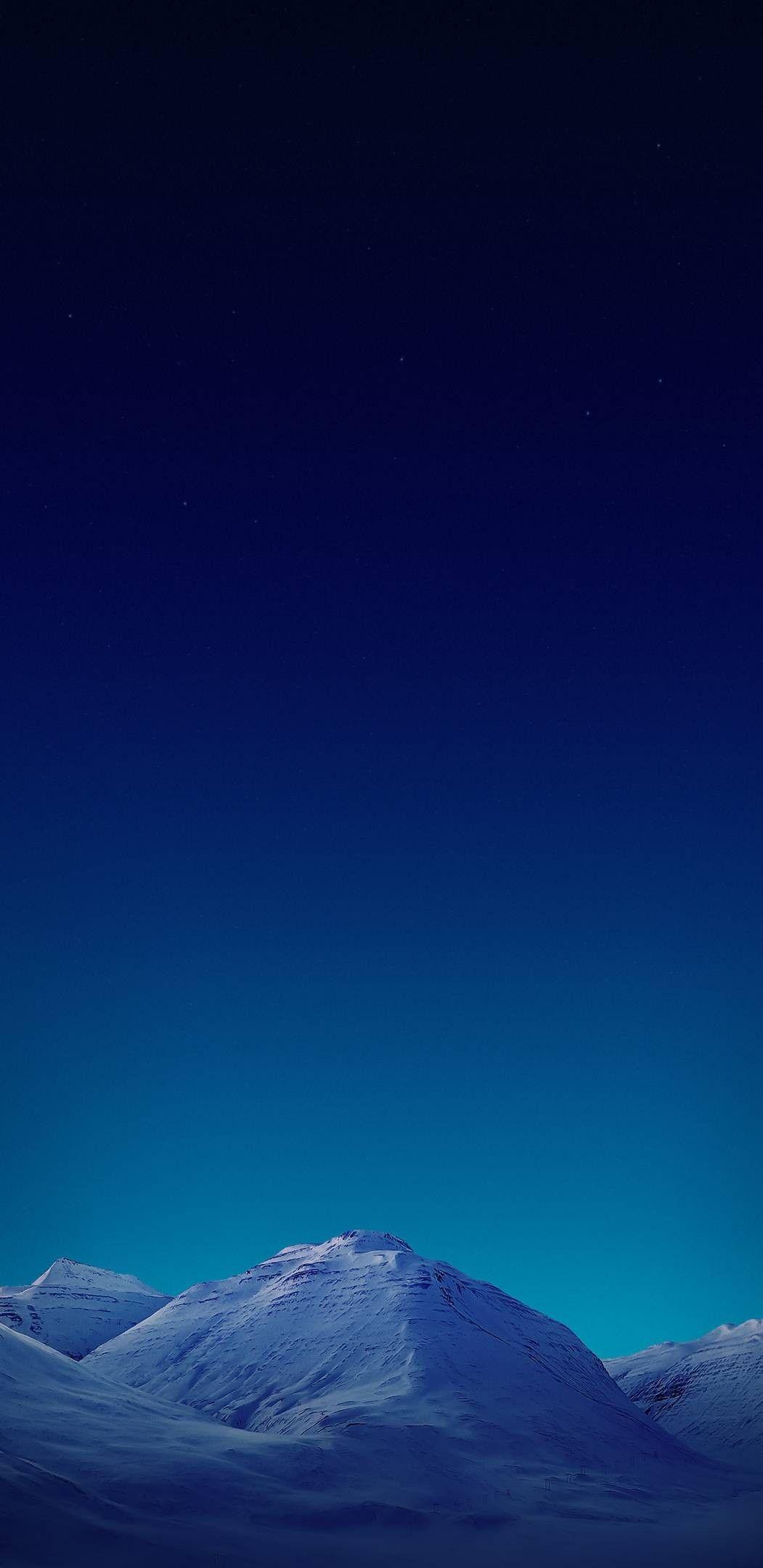 Night Sky Blue Mountain Wallpaper Clean Galaxy Colour