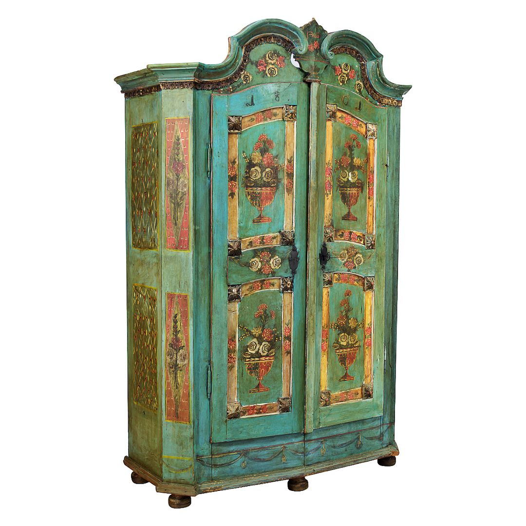 Antique Painted Armoire from Alsace Dated 1801