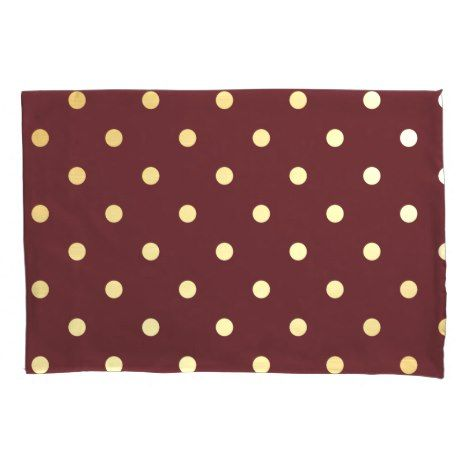 Polka Dot Pillowcases Delectable Elegant Faux Gold Brown Polka Dots Pillowcase #wedding #pillowcases Decorating Inspiration