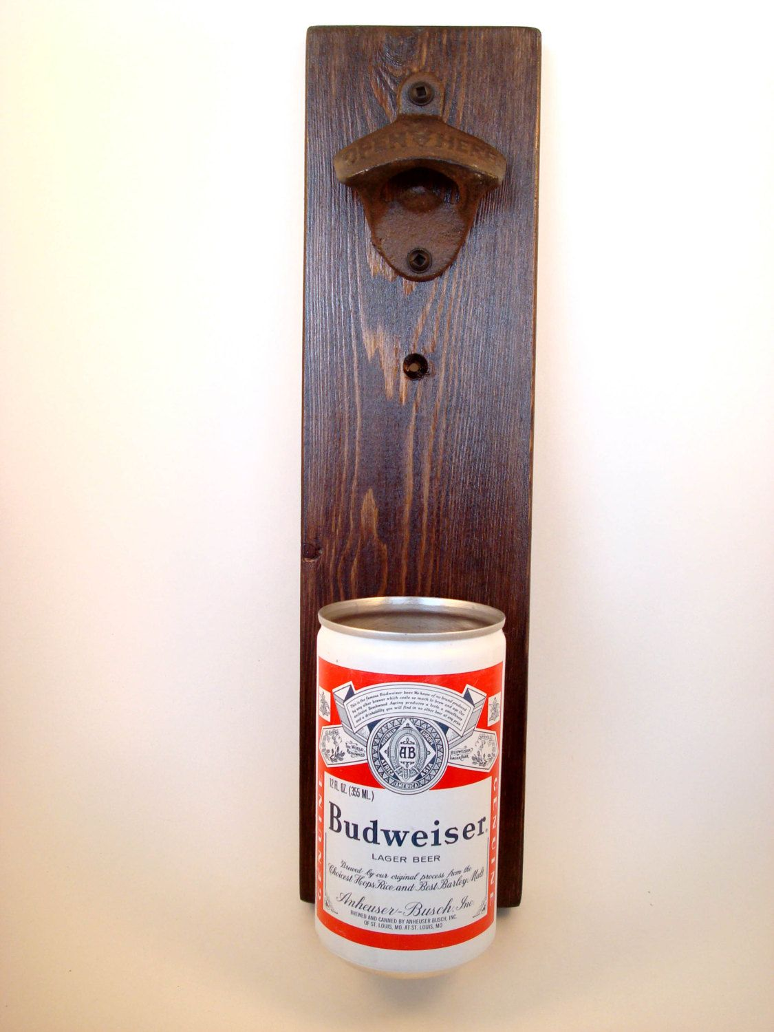 Wall Mounted Beer Opener And Catcher Wall Mounted Bottle Opener Featuring A Vintage Budweiser