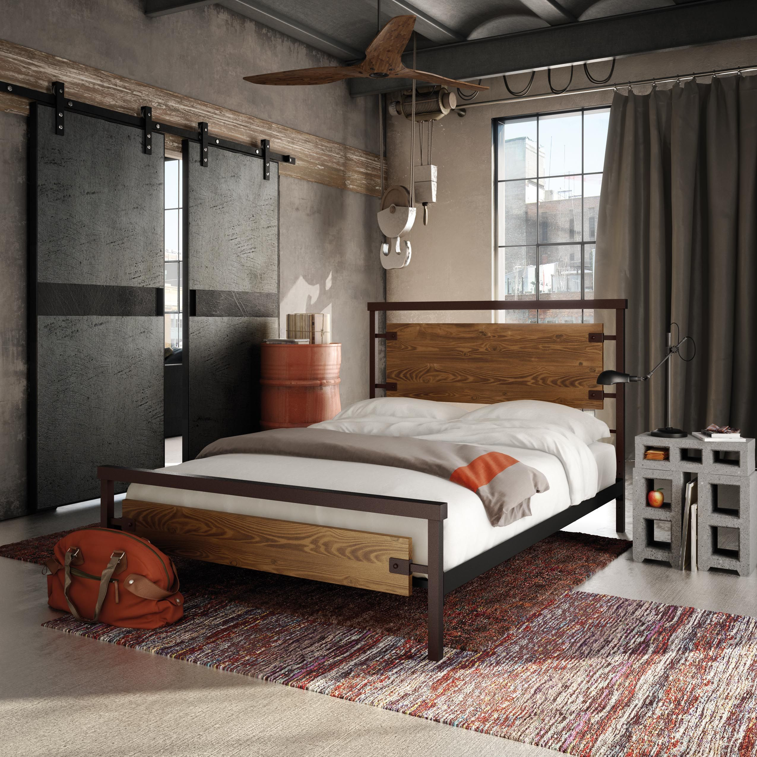 Amisco Factory Bed 12389 Furniture Bedroom Industrial Collection Contemporary