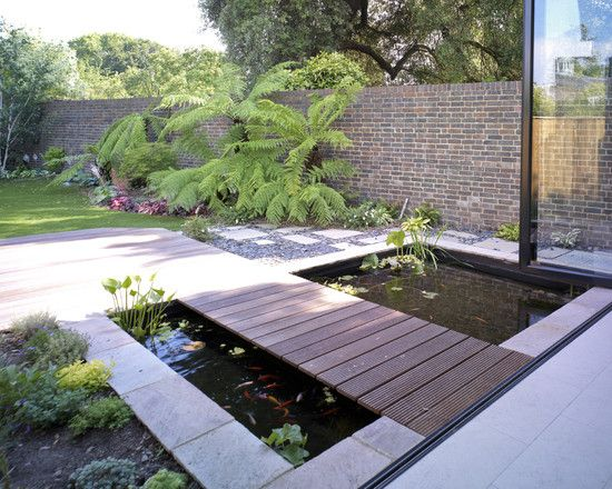 Home Design Modern Fish Pond With Large Garden Interesting Ideas Fish Pond Design And Construction With Pi Garden Pond Design Koi Pond Design Ponds Backyard
