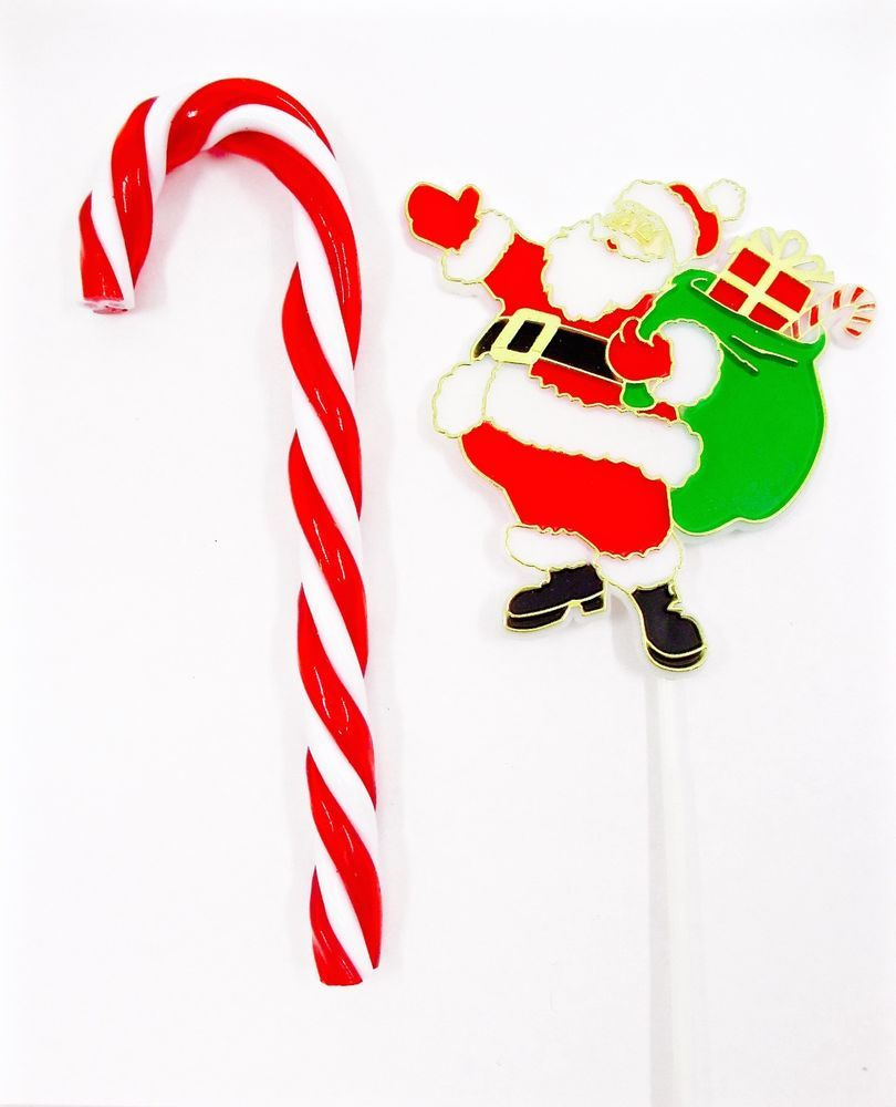 Glass candy cane ornaments - Christmas Ornaments Plastic Santa On A Stick Red White Twisted Candy Cane